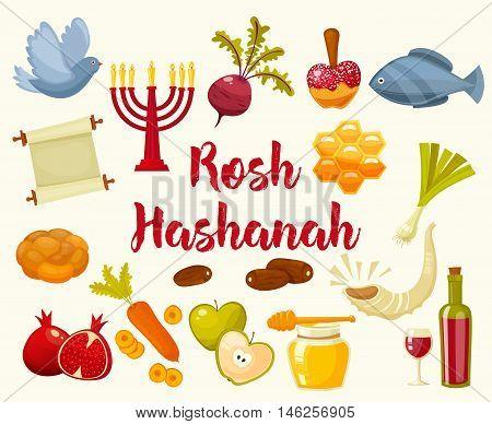 Rosh Hashanah, Shana Tova or Jewish New year cartoon flat vector icons set.Traditional symbols of Jewish new year holiday Rosh Hashanah