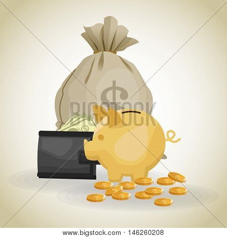 Piggy bag wallet coins and bills icon. Money economy commerce and market theme. Isolated design. Vector illustration