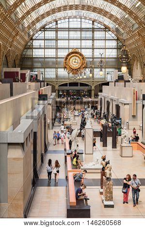 Paris France - Jule 08 2016: Main hall of the d'Orsay Museum. The Musee d'Orsay is a museum in Paris on the left bank of the Seine. Musee d'Orsay has the largest collection of impressionist paintings in the world.