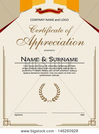 Certificate of Appreciation with laurel wreaths and ribbon portrait version