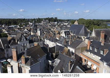 Amboise; Amboise France - August 09 2016: Amboise is a little town located in the Loire Valley in France, became famous for his royal castle, Château d' Amboise. It was built in the middle ages on a rock spur over the river Loire and became Royal Residenc