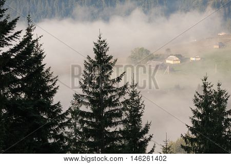 Amazing scenery of idyllic countryside with rolling hills veiled in morning fog. Aerial view of a hilltop farmhouse on a foggy spring morning.