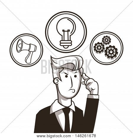 Businessman bulb megaphone and gears icon. Money economy commerce and market theme. Isolated black and white design. Vector illustration