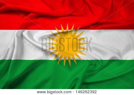 Waving Flag of Kurdistan, with beautiful satin background