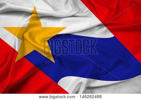 Waving Flag of Lafayette Indiana USA, with beautiful satin background