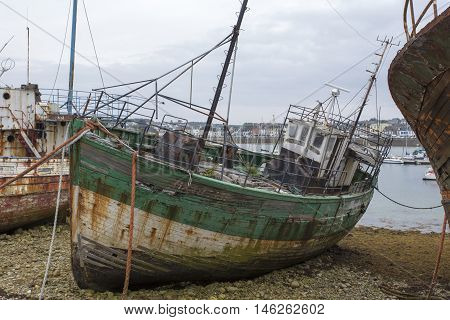 Camaret-Sur-Mer France - August 17 2016: View of Shipwrecks in Camaret-Sur-Mer Brittany France