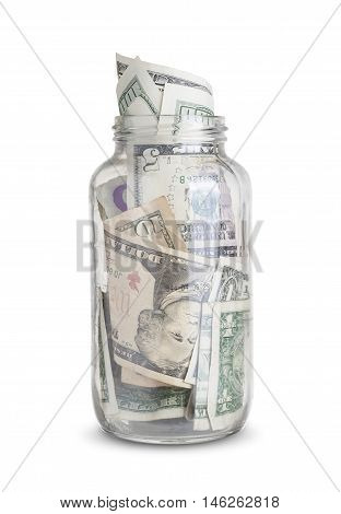 dollar bills in a glass jar isolated on white background