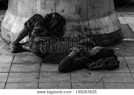 Homeless Man Sleep On Footpath