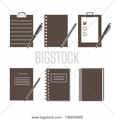 Set of vector icons of office supplies.