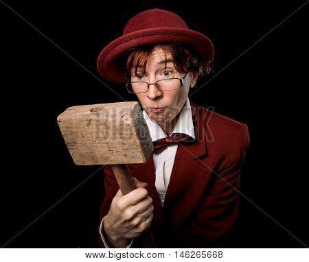 Cartoon Auctioneer In Red