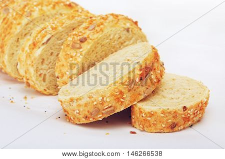 sliced corn bread with sesame and sunflower seeds