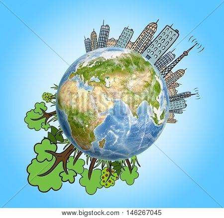 Planet Earth with drawn houses, skyscrapers, buildings and trees around it. Ecological problems. Air pollution. Environmental crisis. Big city life.