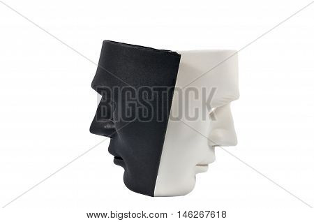 Black and white masks like human behavior conception