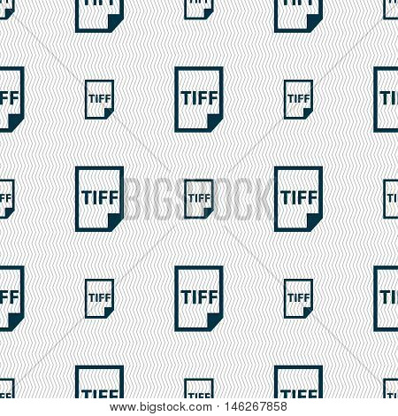 Tiff Icon. Sign. Seamless Pattern With Geometric Texture. Vector