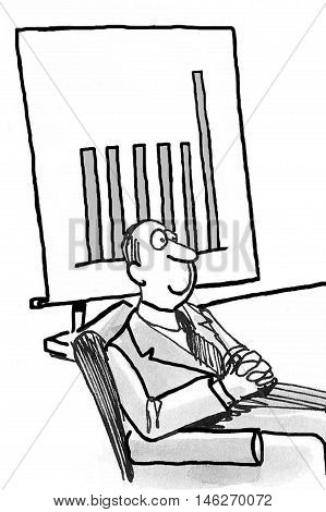 B&W business illustration of smiling businessman sitting in a meeting beside a bar chart.