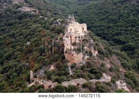 Montfort ruins of an ancient fortress of the Crusaders, in northern Israel