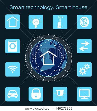 Smart technology . Concept with globe ubiquitous smart home technology