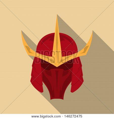 Samurai armor helmet with long shadow in a flat design. Vector illustration eps10