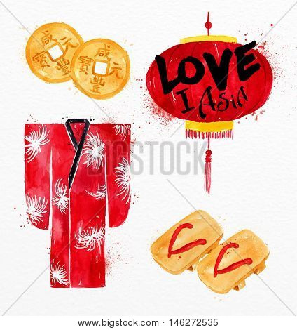 Asia symbols feng shui asia coin kimono red paper lantern asia flip flops drawing with drops and splash on watercolor paper background
