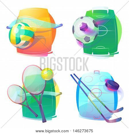 Hockey and tennis, volleyball and soccer gear icons or logo. Ice hockey and tennis, volleyball and soccer or football accessories or gear. eps 10