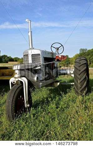 ROLLAG, MINNESOTA, Sept 1: An old restored Silver King tractor is displayed at the West Central Steam Threshers Reunion(WCSTR) where 1000s attend each Labor Day weekend in Rollag, MN each year.