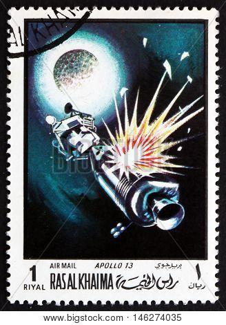 RAS AL-KHAIMAH - CIRCA 1970: a stamp printed in Ras al-Khaimah shows Apollo 13 in Orbit Spaceflight circa 1970