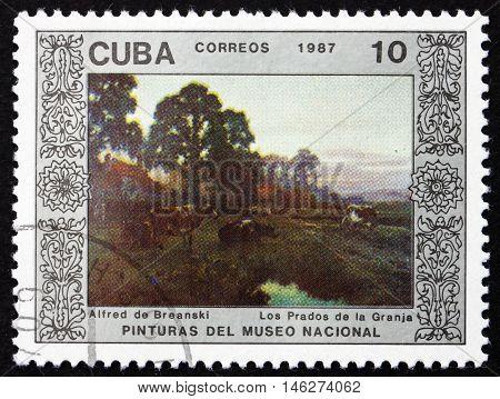 CUBA - CIRCA 1987: a stamp printed in Cuba shows Farm Meadows Painting by Alfred de Breanski circa 1987