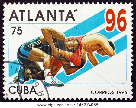 CUBA - CIRCA 1996: a stamp printed in Cuba shows Wrestling 1996 Summer Olympics Atlanta circa 1996