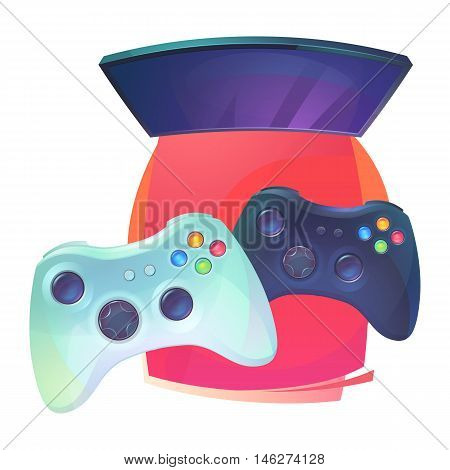 Video games with joystick and TV plasma. Joypad or controller, plastic pad for console entertainment and home leisure accessory. Regular teenager hobby and technology electronic activity