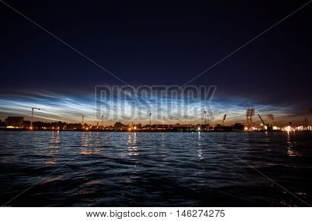 Saint-Petersburg view from water at night time