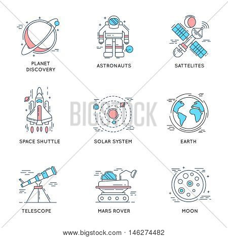 Space universe linear icons with solar system satellites earth telescope astronaut shuttle mars rover isolated vector illustration