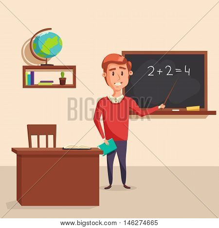 Mathematics teacher with pointer in blackboard with chalk showing arithmetic number calculation. Books and globe on shelf behind table with class journal. Good for educational and lesson theme poster