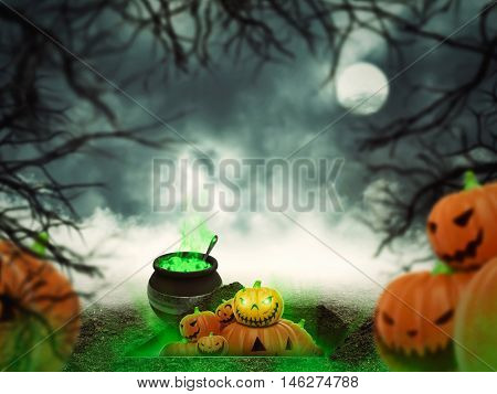 Helloween pumpkins in the forest
