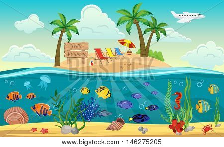 Colored underwater world island composition with sandy beach sun beds and ocean around vector illustration