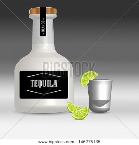 Blanco tequila bottle with wood top with shot glass and limes on a black and white gradient background