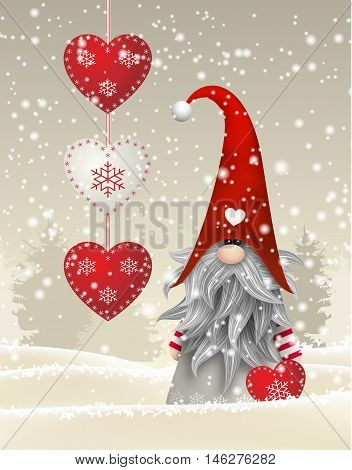 Nisser in Norway and Denmark, Tomtar in Sweden or Tonttu in Finnish, Scandinavian folklore elves, nordic christmas motive, Tomte standing in winter landscape, vector illustration, eps 10 with transparency