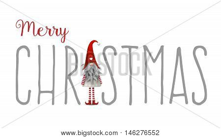 Inscription Merry Christmas, with gnome used as letter I, isolated on white background, Tomte is traditional scandinavian symbol of Christmas, vector illustration, eps 10 with transparency and gradient meshes