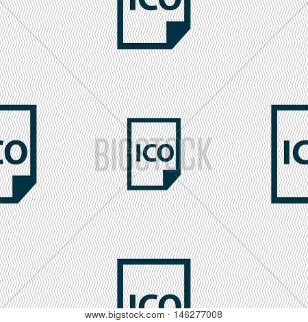 File Ico Icon Sign. Seamless Pattern With Geometric Texture. Vector
