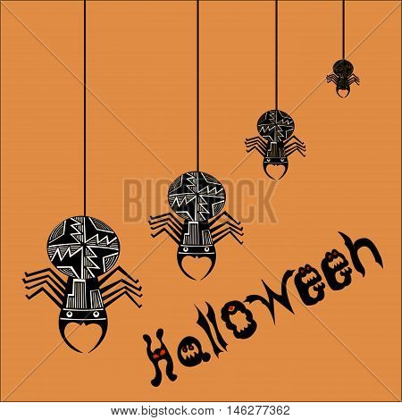 Halloween (All hallows' day) - autumn holiday in Britain, Scotland and Ireland.  Spiders. The letters in the form of ghosts and evil beings.