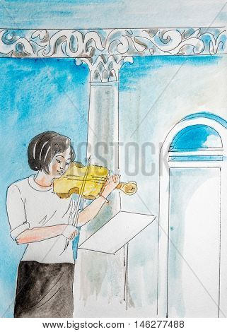 Watercolor drawing painting  female musician playing violin. Art music concept. Collection of hand made water color art draw paintings.