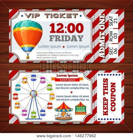 Amusement park tickets with red white substrate and colorful attractions on wooden background isolated vector illustration