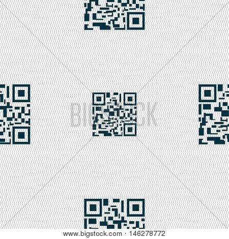 Barcode Icon Sign. Seamless Pattern With Geometric Texture. Vector