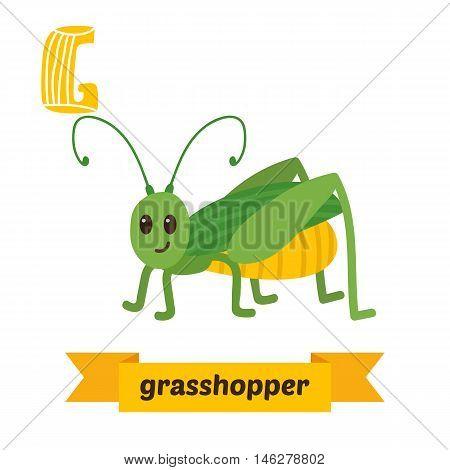 Grasshopper. G Letter. Cute Children Animal Alphabet In Vector. Funny Cartoon Animals