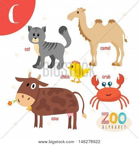 Letter C. Cute Animals. Funny Cartoon Animals In Vector. Abc Book