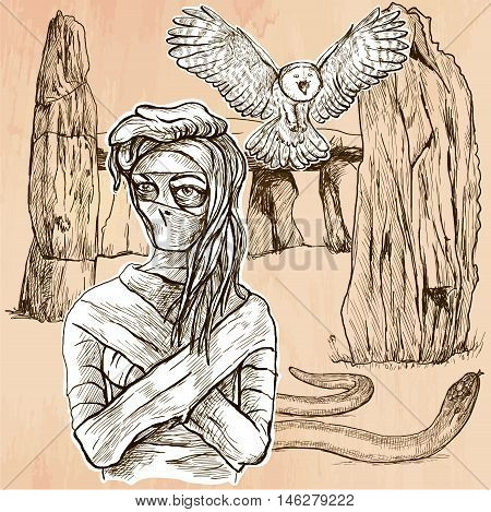 MUMMY. An mummy flying owl and snake in front of stone menhir and dolmen. Freehand sketching line drawing. An hand drawn vector illustration. Line art technique.