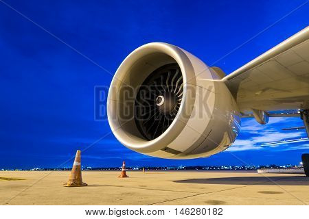 jet engine at twilight sky. jet engine at airport