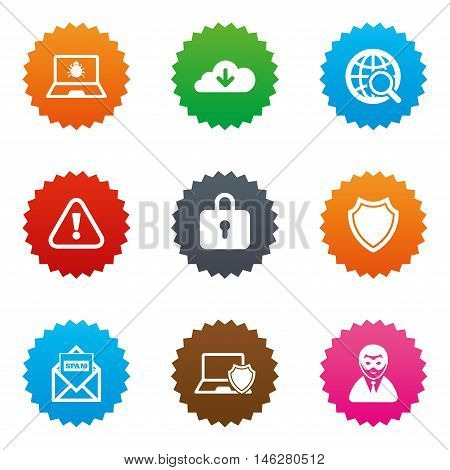Internet privacy icons. Cyber crime signs. Virus, spam e-mail and anonymous user symbols. Stars label button with flat icons. Vector