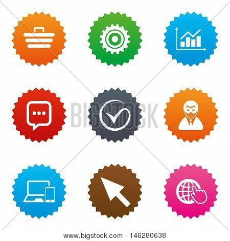 Internet, seo icons. Tick, online shopping and chart signs. Anonymous user, mobile devices and chat symbols. Stars label button with flat icons. Vector