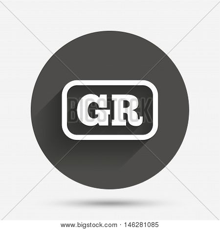 Greek language sign icon. GR Greece translation symbol with frame. Circle flat button with shadow. Vector