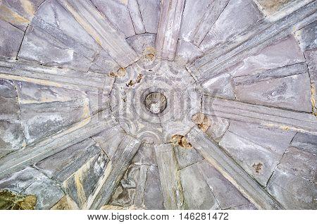 VARDZIA GEORGIA - MAY 27 2016: The stone ceiling in defensive tower at the entrance to Vardzia monastic complex Samtskhe-Javakheti Region on May 27 in Vardzia.